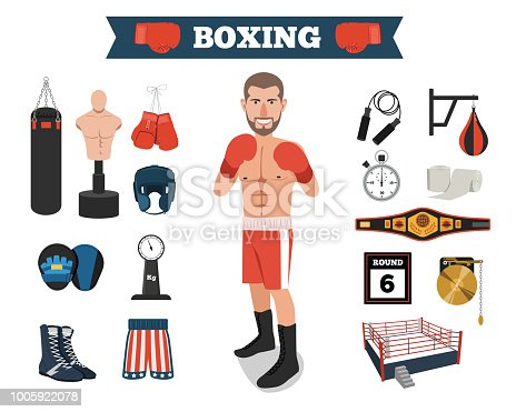 Set of boxing items