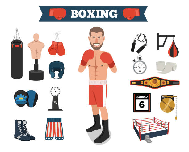Male Boxer with Boxing Equipment Tools vector art illustration
