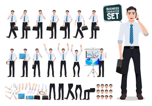 illustrazioni stock, clip art, cartoni animati e icone di tendenza di set di creazione di caratteri vettoriali per uomini d'affari maschi con uomo d'affari che parla al telefono cellulare - business man