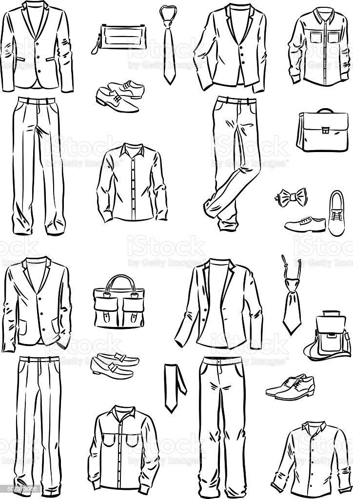 Male business style vector art illustration