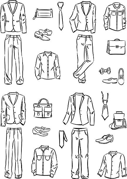 male business style - mens fashion stock illustrations, clip art, cartoons, & icons