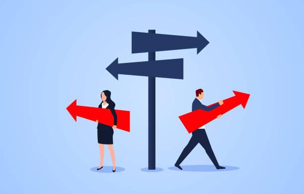 Männlicher Geschäftsmann und Geschäftsfrau wählen verschiedene Richtungen an der Kreuzung – Vektorgrafik