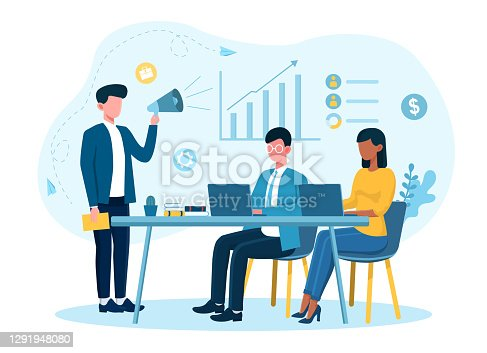 istock Male businessman is motivating employees in office 1291948080