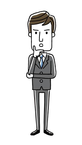 Male businessman: Thinking, questioning Male businessman: Thinking, questioning 悩む stock illustrations