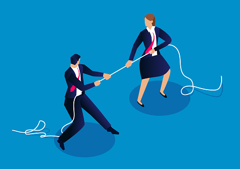 Male businessmen and businesswomen tug of war, competition between men and women