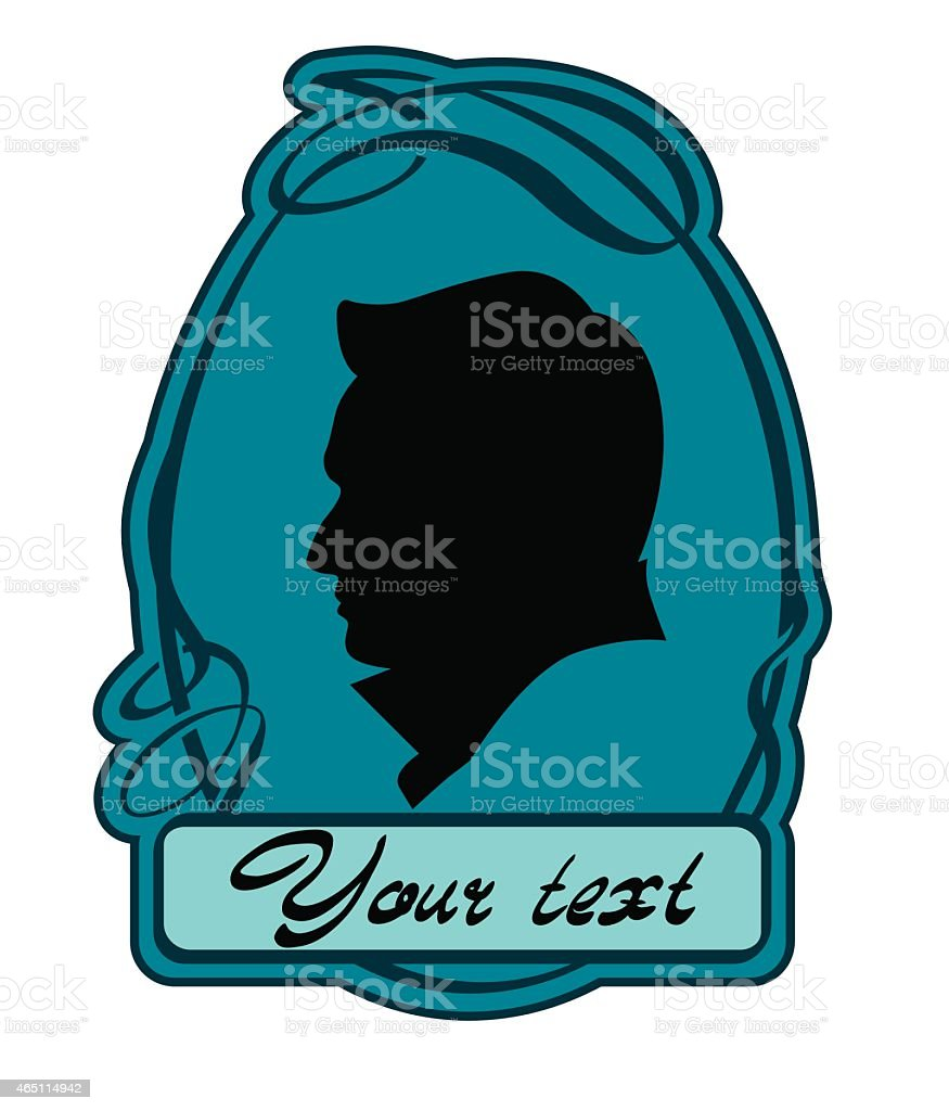 Male cameo vector art illustration