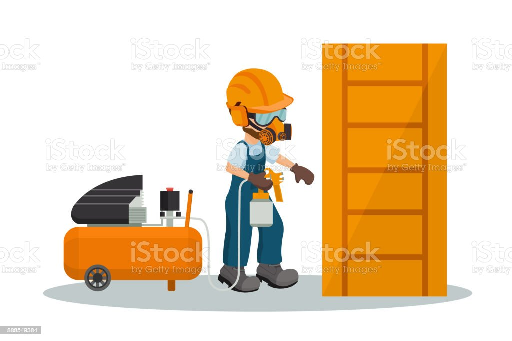 Male carpenter painting a wooden door with a paint gun and a compressor with industrial safety equipment. Vector illustration vector art illustration