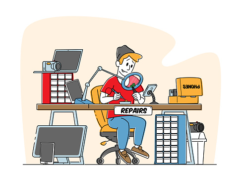 Male Character Assembling or Repair Smartphone and Computer Technics. Man Sitting at Desk Fix Device with Soldering Iron
