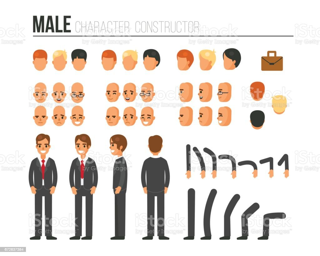 male character constructor vector art illustration