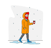 Male Character in Yellow Cloak Holding Cup of Coffee Walk without Umbrella under Rain Falling from Sky. Spring or Autumn Rainy Season Weather. Meteorology Storm Forecast. Linear Vector Illustration