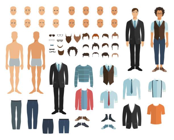 Männlichen Charakter im flachen Stil. Konstruktor. Wählen Sie Frisur, Kleidung und Emotion. Vektor-Illustration im flachen Stil. – Vektorgrafik
