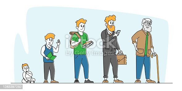 istock Male Character Life Cycle, Growth and Aging Process, Age Generation Concept. Happy People Baby, Kid, Teenager and Adult 1283397252