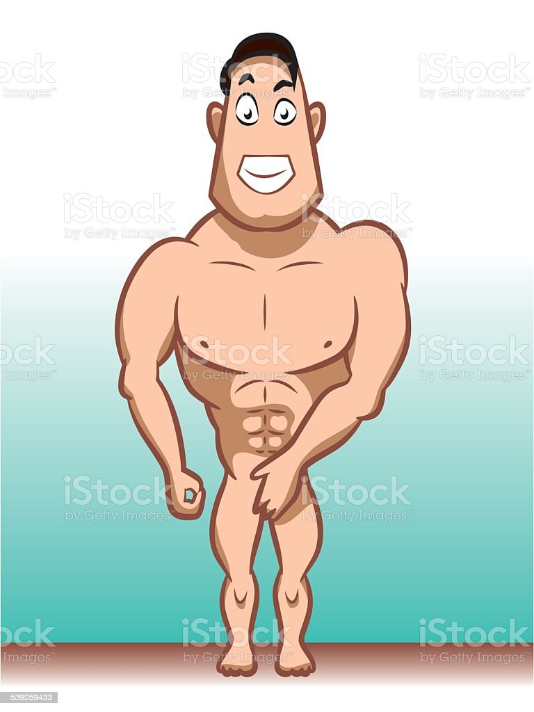 Male character naked vector art illustration