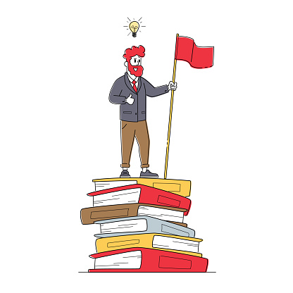 Male Character on Top of Huge Books Pile with Red Flag. Self Development, Developing Mental Issues, Ladder to Success