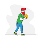 Male Character Spend Time on Weekend Playing Bowling, Man Holding Ball Prepare to Throw Hit Pins. Leisure, Active Lifestyle, Sparetime in Bowling Club, Sports Recreation. Linear Vector Illustration