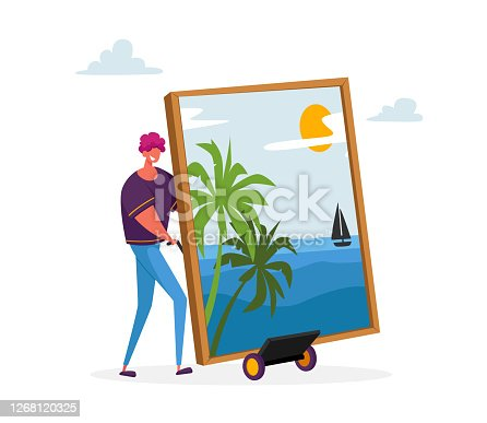 Male Character Presenting Masterpiece Art he Created. Man Show Picture with Palm Trees and Sailing Ship on Seascape Background. Painting Hobby, Talented Artist, Auction Cartoon Vector Illustration