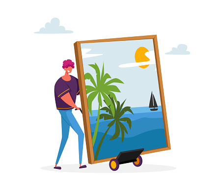 Male Character Presenting Masterpiece Art he Created. Man Show Picture with Palm Trees and Sailing Ship on Seascape