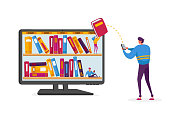 Male Character Stand at Huge Desktop with Books on Bookshelves on Screen Download E-books from Internet. Electronic Library Reading, E-Learning and Online Education. Cartoon Vector Illustration