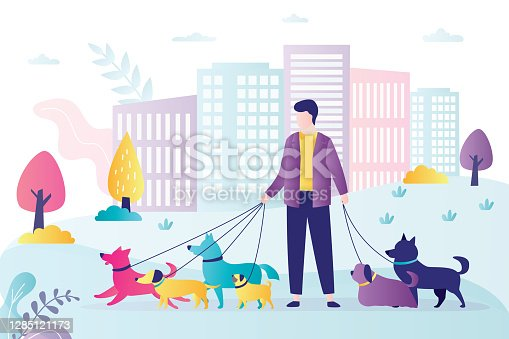 istock Male character walks with pets in park. Concept of dog walking service, volunteering and pet care. Dog active walker with leash. 1285121173