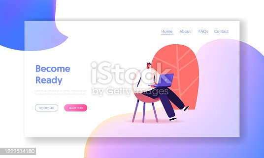 Male Character with Laptop Study Chinese Courses Landing Page Template. Man Study Foreign Language, Prepare for Exam, Freelancer Work Distant. Reading News in Internet. Cartoon Vector Illustration