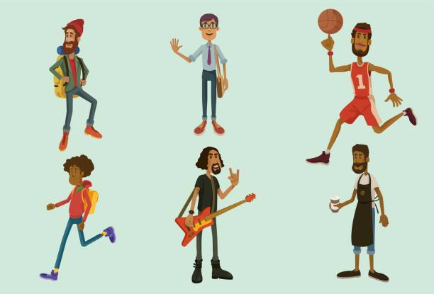 Male Characters Set 1 vector art illustration
