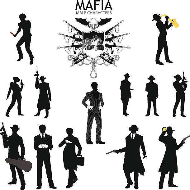 male characters silhouettes retro mafia set - gangster stock illustrations, clip art, cartoons, & icons
