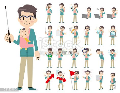 It is a character set of a man. There are gestures and poses mainly explained. It's vector art so it's easy to edit.