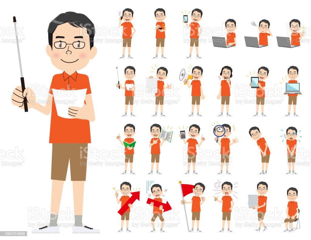 male charactor set. Presenting in various action. vector art illustration