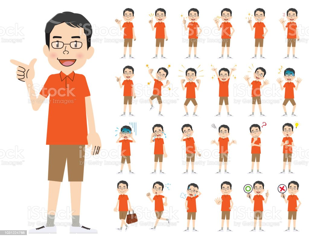 male charactor set. Various poses and emotions. vector art illustration