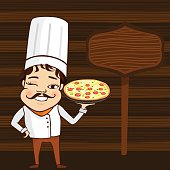 Male Chef Holding a Plate of Pizza