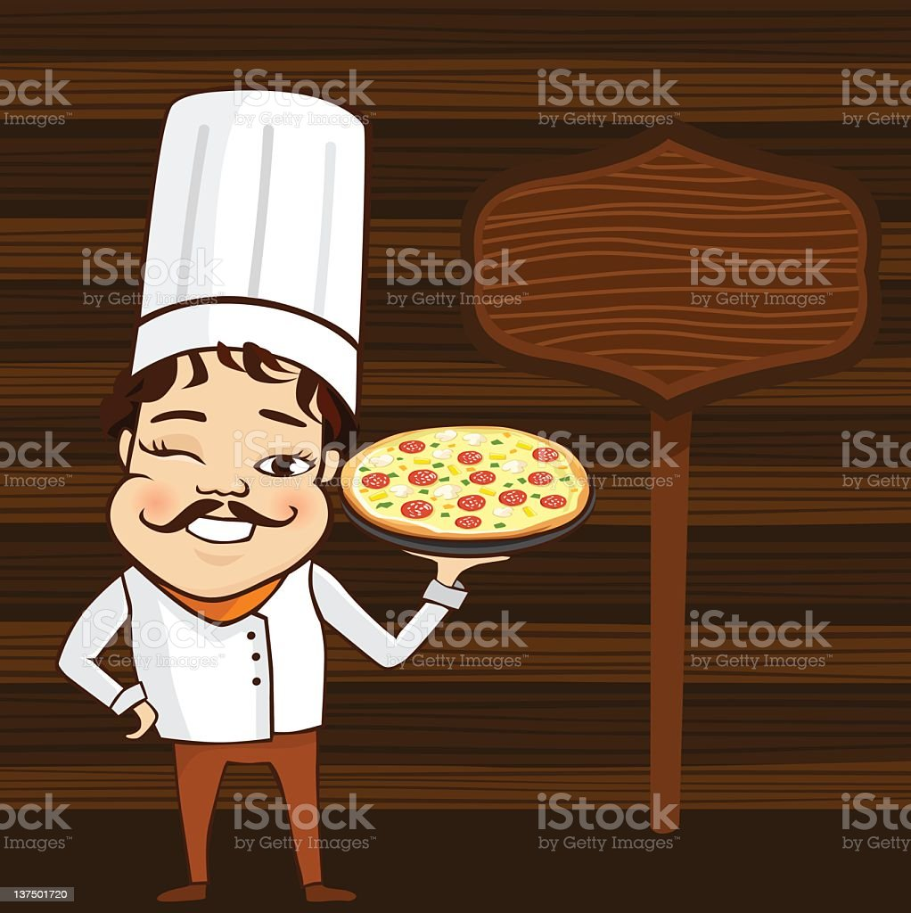 Male Chef Holding a Plate of Pizza vector art illustration