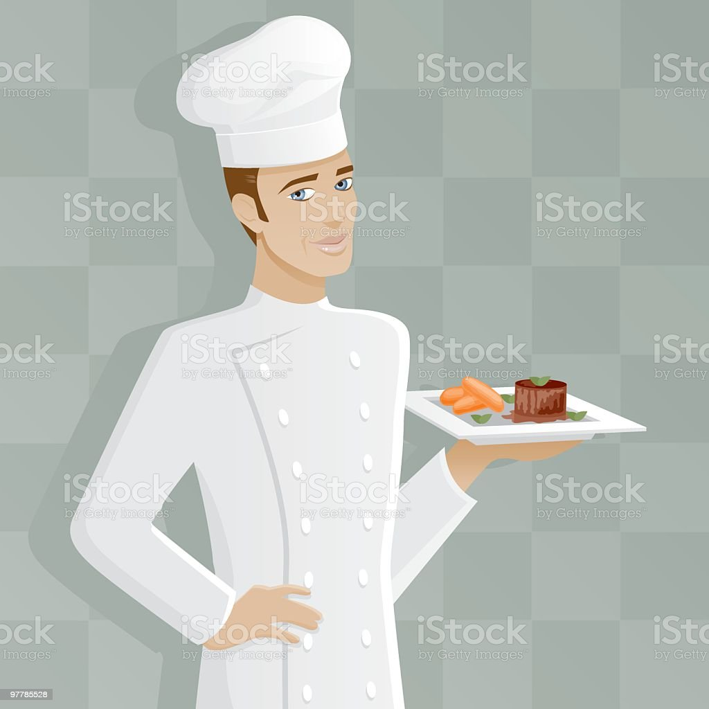 Male Chef with Filet Mignon royalty-free stock vector art