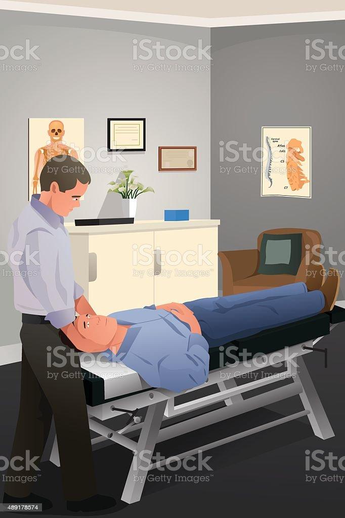 雄カイロプラクター患者の処理 ベクターアートイラスト
