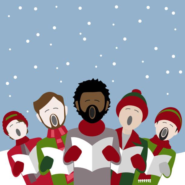 stockillustraties, clipart, cartoons en iconen met mannelijke christmas carol singers - tenor