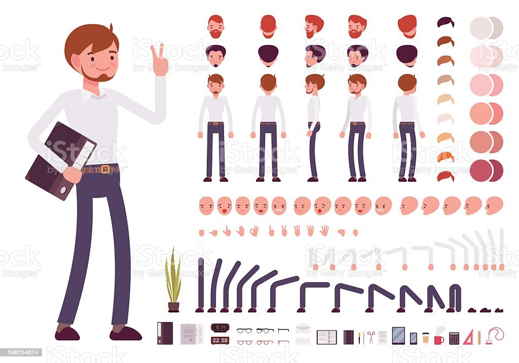 Male clerk character creation set - ilustración de arte vectorial