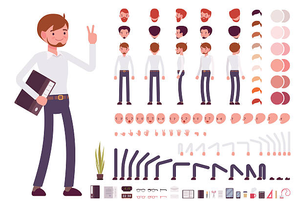 Male clerk character creation set - Illustration vectorielle