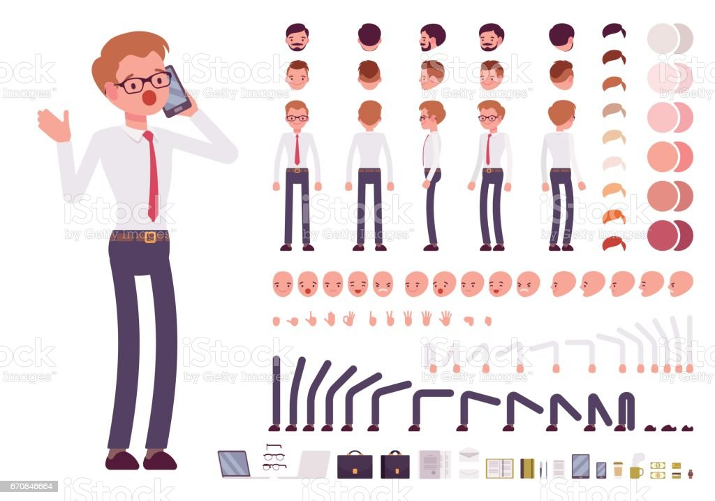 Male clerk character creation set vector art illustration