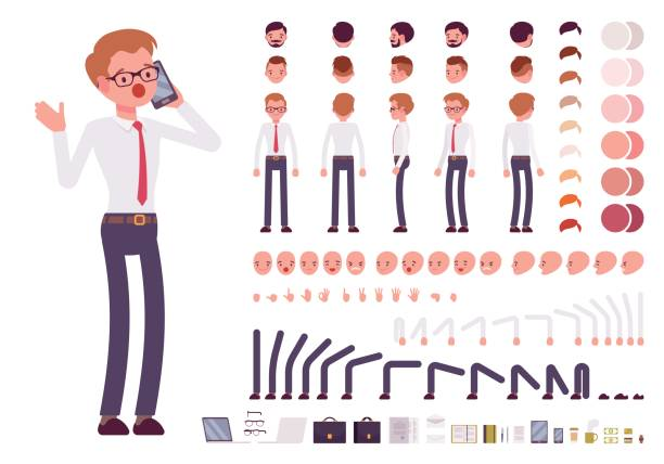 male clerk character creation set - cartoon people stock illustrations, clip art, cartoons, & icons