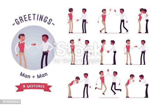 Male clerks greeting, handshaking, giving high five. Ready-to-use character set. Various poses, emotions, standing, fist bump, bow, hug. Full length, front, rear view isolated, white background