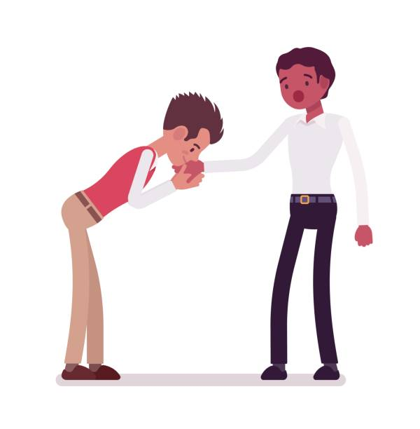 illustrazioni stock, clip art, cartoni animati e icone di tendenza di male clerks hand kiss gesture - kids kiss embarrassed