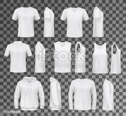 T-shirt templates, hoodie and sweatshirt, polo and singlet or sleeveless shirt. Vector male clothes white mockups, casual garments design. Everyday mens outfits or apparels isolated on transparent