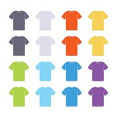 Male colored short sleeve t-shirts templates collection