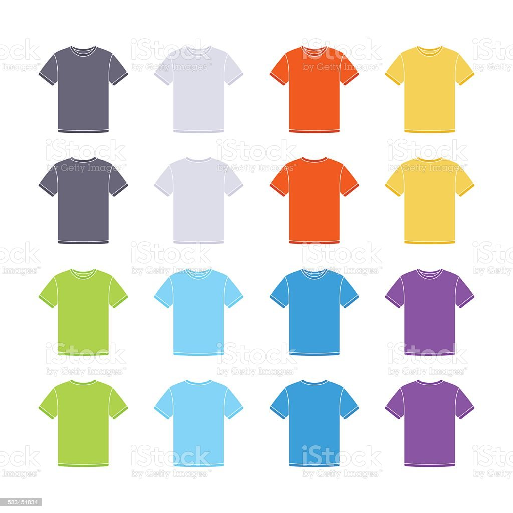 Male colored short sleeve t-shirts templates collection vector art illustration