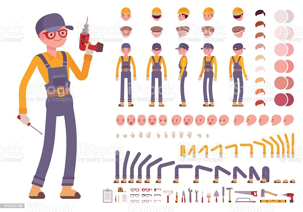 Male construction worker creation set – Vektorgrafik