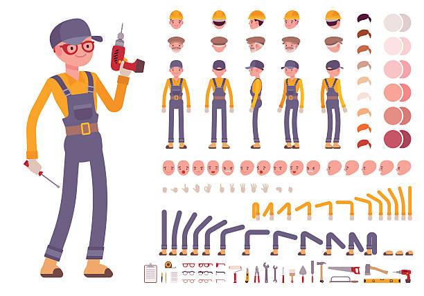ilustraciones, imágenes clip art, dibujos animados e iconos de stock de male construction worker creation set - obrero de la construcción