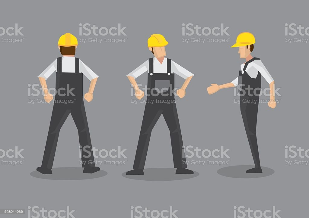 Male Construction Worker in Yellow Helmet and Work Overall vector art illustration