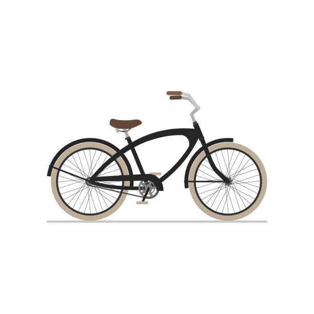 männliche cruiser fahrrad flache isolierte symbol auf weißem hintergrund. - fahrrad stock-grafiken, -clipart, -cartoons und -symbole