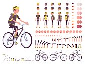 Male cyclist character creation set