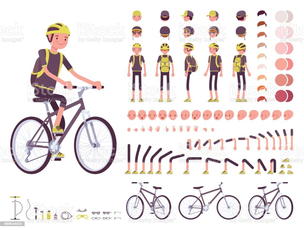 Male cyclist character creation set - ilustración de arte vectorial