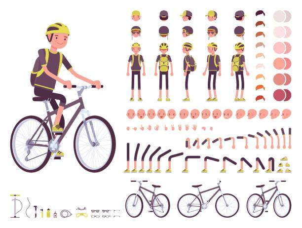 male cyclist character creation set - bike stock illustrations, clip art, cartoons, & icons